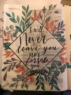 I would love a journal bible if I knew I could make it look so great! # journal # could # leave Bible Study Journal, Scripture Study, Bible Art, Bible Verses, Scriptures, Bible Verse Painting, Bible Drawing, Bible Doodling, Bibel Journal