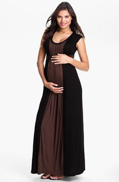 love the color blocking and that it is brown and black!!!  Japanese Weekend Colorblock Maternity Dress available at #Nordstrom.