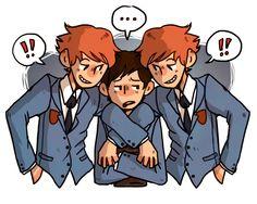 Hikaru Hitachiin, Haruhi Fujioka, and Kaoru Hitachiin • Ouran High School Host Club