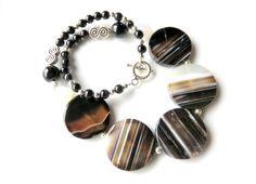 Black+Gemstone+Necklace++Banded+Agate+and+by+JemsbyJBandCompany