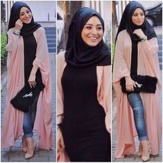 Hijab fashion wear recently became so chic and trendy; fashion designers are doing their best to create new beautiful designs every day. Street Hijab Fashion, Arab Fashion, Islamic Fashion, Muslim Fashion, Fashion Wear, Girl Fashion, Casual Hijab Outfit, Hijab Chic, Hijab Look