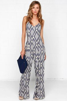 High Desert Nights Cream and Blue Print Jumpsuit at Lulus.com!