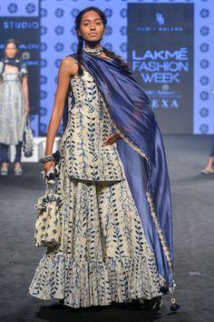 Designer dresses indian - Buy Kurta With Sharara & Tassel Dupatta by Punit Balana at Aza Fashions Designer Kurtis, Indian Designer Suits, Sharara Designs, Kurta Designs Women, Tokyo Fashion, Net Fashion, Street Fashion, Fashion Art, Indian Wedding Outfits