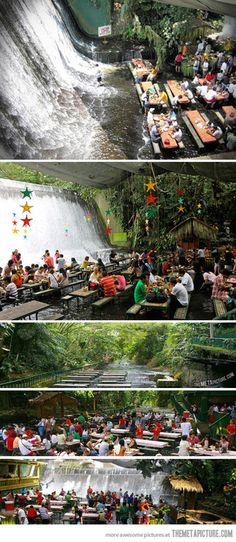 Waterfall restaurant in the Phillipines…  http://srsfunny.tumblr.com/