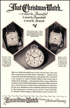 1927 Old Original Vintage Hamilton Watches Christmas 1920s Photo Print Ad