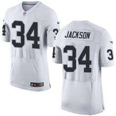 Nike Elite Bo Jackson White Men's Jersey - Oakland Raiders #34 NFL Road
