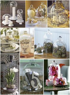 Displaying items/collections under a cloche - so pretty.  Best of all, the things inside don't get dusty!  :)
