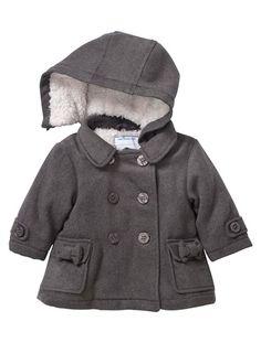 Manteau Grand Froid drap de laine doublé ouatiné bébé fille MARINE+GRIS FONCE - vertbaudet enfant