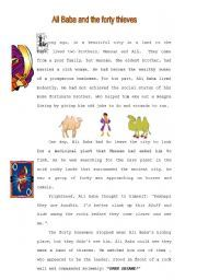 English worksheet: Ali Baba and the 40 thieves(1st of a set of 5)