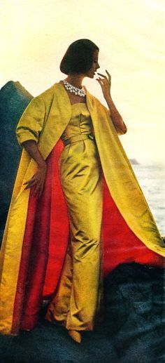 Yellow Evening Gown, When I was modeling in Boston MA Neiman Marcus I wore this same dress designed by edith  head I loved it then and love it NOW.  Shoe's dress and coat with it's red lining.  Of Course hear was different like my way better.: