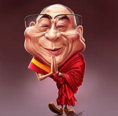 Dalai Lama caricature - 25 Beautiful Celebrity Caricatures by Indian Artist Mahesh Nambiar