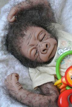 OOAK Reborn Monkey Orangutan Baby Boy Art Doll Primate Ape Original | eBay