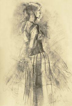 "Original drawing ""Hommage à Lovis Corinth II"" charcoal on paper"