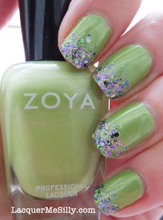 Lime Green Mani with Multi Colored Glitter Gradient Tips