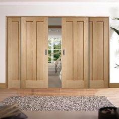 Easi-Slide OP1 Oak Novara 2 Panel Flush Sliding Door System in Four Size Widths
