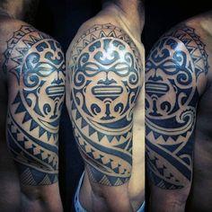 Incredible Half Sleeve Tattoo Of Maori Tribal Work On Man