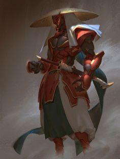 ArtStation - Ronin in red , Hui Zou Character Concept, Character Art, Concept Art, Dnd Characters, Fantasy Characters, Ninja Assassin, Futuristic Samurai, Ronin Samurai, Samurai Warrior
