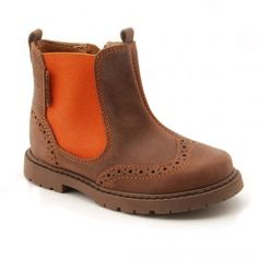 Digby, Brown/Orange Leather Girls Zip-up Boots - Girls Shoes