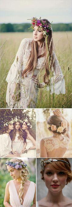 Coronas de flores y diademas para Novias Boho CHIC Bohemian Chic Fashion, Bohemian Bride, Wedding Beauty, Chic Wedding, Hippie Style, Hippie Boho, Bodas Boho Chic, Hair Stations, Floral Crown