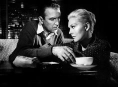 James Stewart & Kim Novak drinking coffee.
