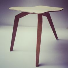 """""""Angle"""" stool. Made of birch and oak."""