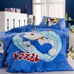 Cartoon Teenage & Kids Blue Animal Doraemon Reactive Print Cotton 4-Piece Twin Size Bedding Sets