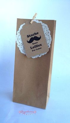 Kraft Brown Lolly Favour Bags / White Paper Doilies / Mini Wooden Pegs / Stache Some Lollies Tags x 25, $21.00