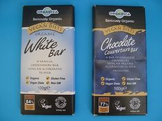 Organica Vegan White & Chocolate Couverture Bar Wrappers.