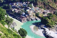 """A third view of the """"Confluence of the Alaknanda and Bhagirathi Rivers in Devprayag, India"""" -- """"Devprayag is...one of the Panch Prayag (five confluences) of Alaknanda River & it is where the Ganges River is formed."""" More about the glacial sources at the click-through."""