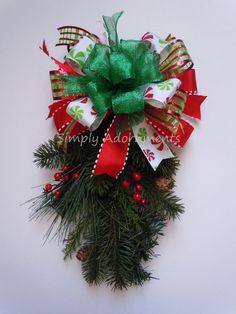 Whimsical Red Green Peppermint Christmas Bow, SimplyAdornments Bow