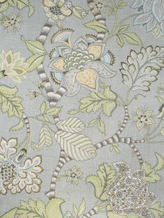 """""""Clarice, Dove""""  A stunning, large floral-botanical by P Kaufman in a dusty sage-grey with tender green, taupe, buttercream, beach glass blue, espresso and cream."""