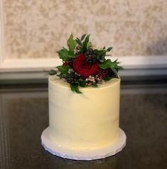 A simple cake topper for a 'winter wedding with a touch of Christmas' Gardenia Wedding Flowers, Wedding Cake Toppers, Wedding Cakes, Funeral Flowers, Wedding Events, Touch, Simple, Winter, Floral