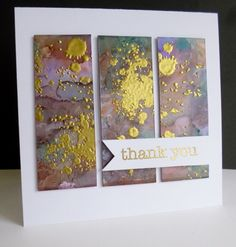 handmade thank you card: Worth your Weight in Gold by sistersandie ... look of modern art ... split panel ... alcohol inks ... gold embossed grunge stamp splats ...