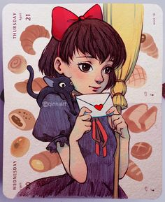 [ラブレター] [Love Letter] ~~ Damn I want freshly baked Asian bakery bread so bad right now lol. Resketching an old Kiki sketch from last year, but coloured digitally this time.  #ghibli #kikisdeliveryservice #miyazaki