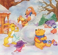 Winnie The Pooh And His Friends Building A Snowman During Christmas