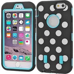 """myLife Layered Protection """"Built In Screen Protector"""" Heavy Duty Case for iPhone 6 Plus (5.5"""" Inch) by Apple {Sky Blue + Stallion Black """"Retro Polka Dots"""" Three Piece SECURE-Fit Rubberized Gel} myLife Brand Products http://www.amazon.com/dp/B00QKYN84K/ref=cm_sw_r_pi_dp_SXIHub0PJGBZ8"""