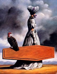 The Visit of the Old Lady - Rafal Olbinski (colour version)