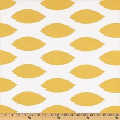 Yellow Ikat Fabric by the Yard  Premier Prints Chipper Corn Yellow and White cotton slub home decor fabrics - 1 yard or more -  SHIPS FAST