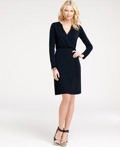 Petite Refined Matte Jersey Revere Collar Wrap Dress