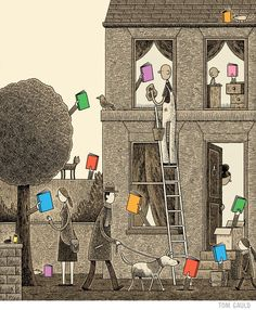 A weekend with many books. (Tom Gauld)
