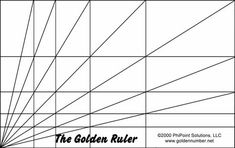 "The ""Golden Ruler"" grid, used to find and illustrate phi, golden ratio proportions. (©EvolutionofTruth.com, 1999)"