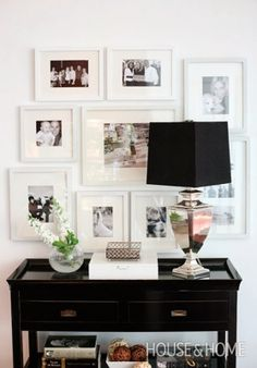 Love this look! Photo Gallery Wall with white frames