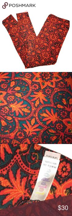 TC Red & Orange Mosaic Floral LuLaroe Leggings • Gently used • Size TC • A little piling on the inner thigh area...  See photos... Not noticeable when wearing • RED • BLACK • ORANGE • FALL • CHRISTMAS • LuLaRoe Pants Leggings