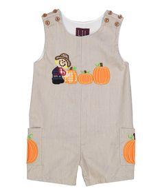 Brown Scarecrow & Pumpkin Shortalls - Infant & Toddler #zulily #zulilyfinds
