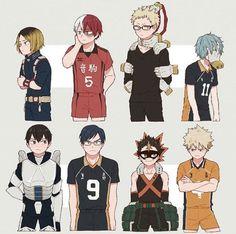 My Hero Academia x Haikyuu - characters with the same VAs Boku No Hero Academia, My Hero Academia Memes, Hero Academia Characters, My Hero Academia Manga, Haikyuu Funny, Haikyuu Fanart, Haikyuu Ships, Kageyama X Hinata, Film Anime