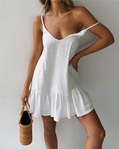 Sexy Solid Color V Neck Backless Sling Dress - Summer Dresses White Shift Dresses, White Dress Summer, Sexy White Dress, White Sundress, Casual Dresses For Women, Sexy Dresses, Clothes For Women, 1950s Dresses, White Casual Dresses