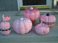 I made these pink pumpkins for a breast cancer awareness display at work. I did a very quick count just now and came up with fourteen. Breast Cancer Party, Breast Cancer Wreath, Breast Cancer Crafts, Breast Cancer Fundraiser, Pink Halloween, Halloween Pumpkins, Halloween Crafts, Halloween Decorations, Halloween Halloween