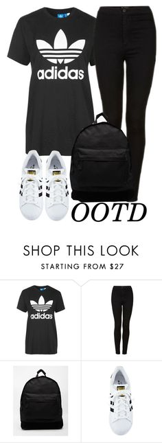 """""""OOTD: First Day of School"""" by elenaday ❤ liked on Polyvore featuring Topshop, Mi-Pac and adidas"""