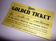 Golden Ticket party invitations printed Willy by partystarking