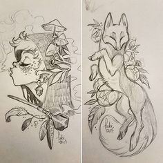 Girl with pipe and mushrooms - fox or wolf with flowers - two wonderful sketches
